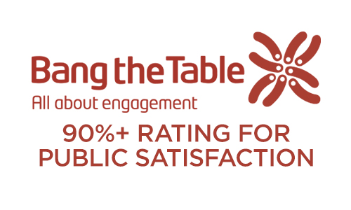 Bang the Table 90%+ rating for public satisfaction badge
