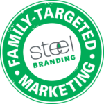Steel Advertising Family Targeted Marketing Logo